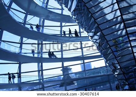 Modern dome of Reichstag in Berlin. Reichstag is Germany's parliament building - stock photo