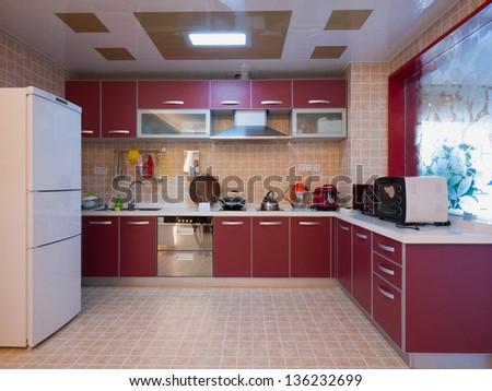 modern domestic kitchen - stock photo