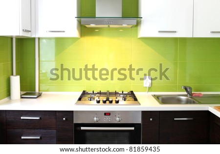 modern domestic Kitchen, stylish interior design - stock photo