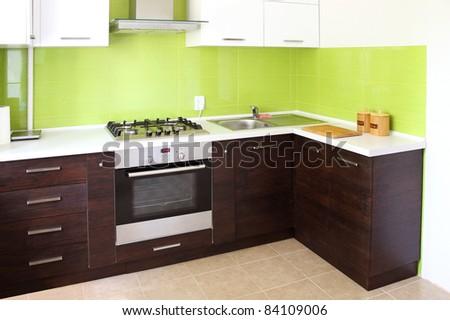 modern domestic Kitchen, stylish interior design - stock photo