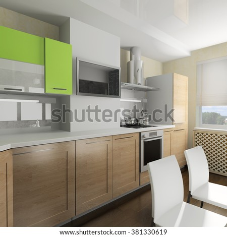 modern domestic Kitchen, stylish interior design, 3d rendering