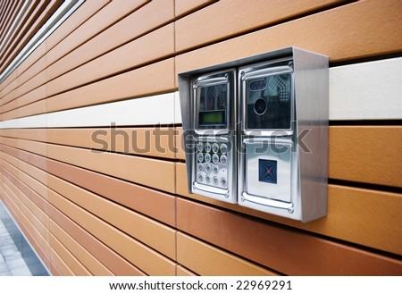 Modern Door Intercom - stock photo