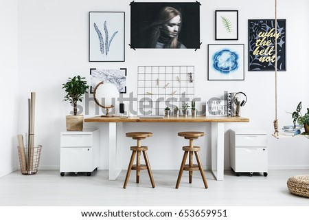 Modern Double Desk Accessories Trendy Home Stock Photo Edit Now