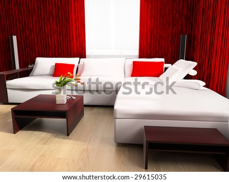 Modern drawing room a room exclusive design 3d image