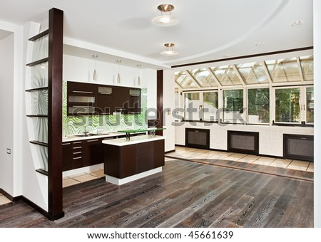 Modern drawing room (studio) and Kitchen interior with dark wooden floor, corner wide angle view - stock photo
