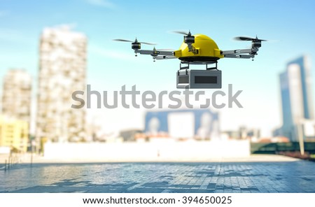 modern drone with case and town background - stock photo