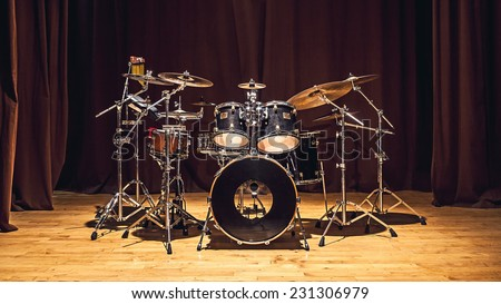 Modern drum set on stage prepared for playing.  - stock photo