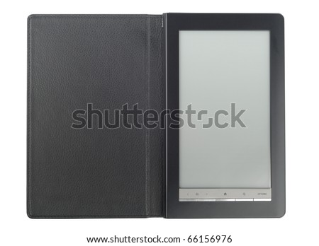 Modern E-Book with black leather case isolated over white background - stock photo