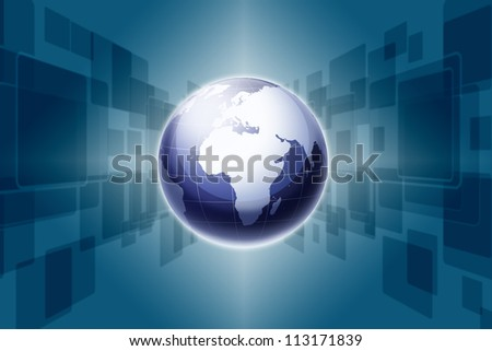 Modern earth and Touch screen background - stock photo