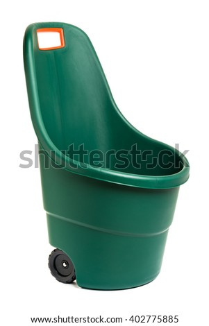 Modern easy go plastic gardening wheelbarrow - isolated on white and with clipping path - stock photo