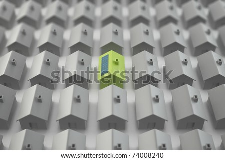 Modern eco house standing out from the crowd with shallow DOF - stock photo