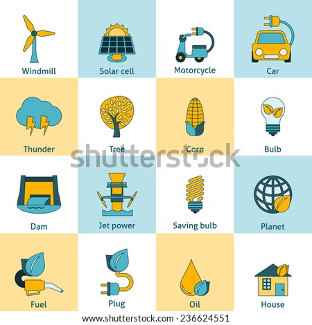 Modern ecologically sustainable energy saving systems flat line icons set with solar cell abstract isolated  illustration - stock photo
