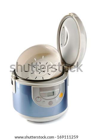 Modern electric cooker with touch control. Isolate on white background.
