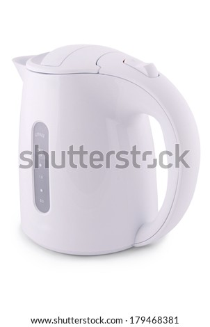 Modern electric kettle on white. Clipping path included.