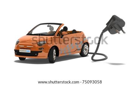 modern electric or hybrid car - stock photo