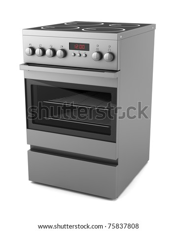 modern electric stove isolated on white background - stock photo
