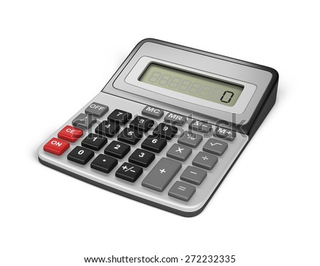 Modern electronic calculator. 3d image. White background. - stock photo