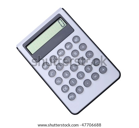 Modern electronic calculator. Isolated on white - stock photo
