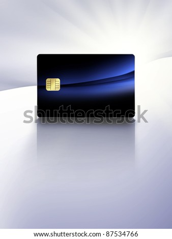 modern electronic identification card with reflection