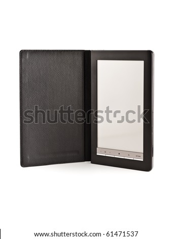 modern electronic pocket book, isolated on white - stock photo