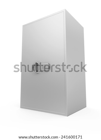 Modern Electronic Steel Safe isolated on white background