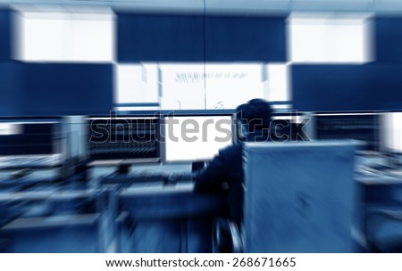 Modern electronic technology inside the control room - stock photo
