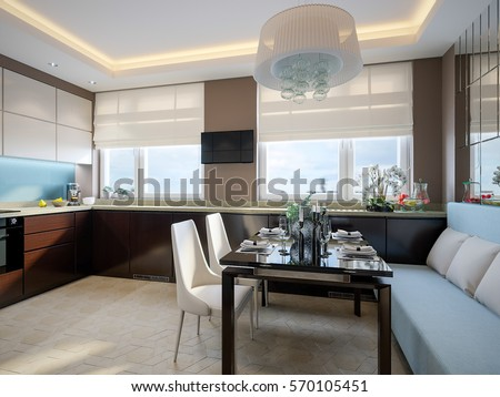 Modern Elegant And Luxurious Kitchen Chocolate, Turquoise And Beige Colors  With Dining Area, Dining