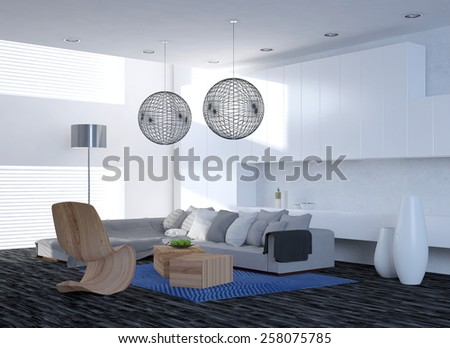 Modern elegant living room interior with a corner unit settee and contemporary chairs under spherical latticework lampshades, parquet floor and large windows. 3d Rendering.  - stock photo