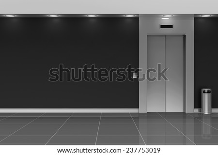 Modern Elevator Hall Interior Closed Doors. 3D Rendering - stock photo