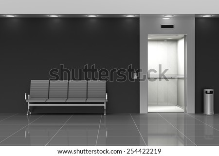 Modern Elevator Hall Interior with Seats near the Wall - stock photo