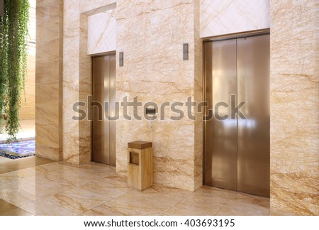 Modern elevator in a commercial building - stock photo