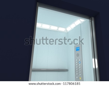 Modern Elevator Interior and Exterior inside building