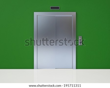 Modern Elevator with Closed Door on Green Wall