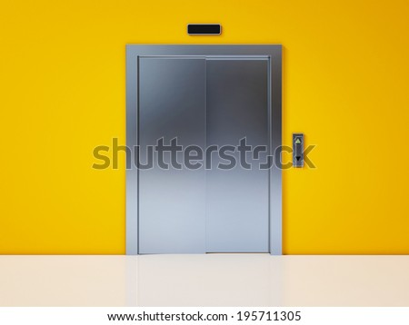 Modern Elevator with Closed Door on Yellow Wall - stock photo