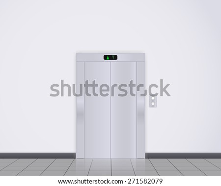 Modern elevator with closed doors. Raster version