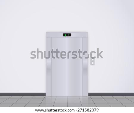 Modern elevator with closed doors. Raster version - stock photo