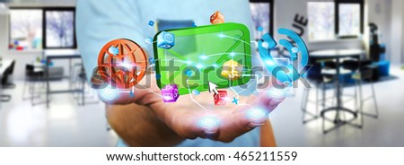 Modern email, phone and internet devices connected with businessman fingers '3D rendering'