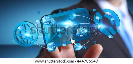 Modern email, phone and internet devices used by businessman '3D rendering' - stock photo