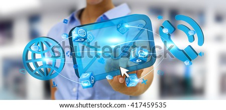 Modern email, phone and internet devices used by businesswoman - stock photo