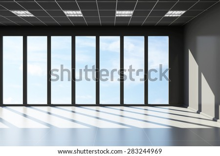 Modern Empty Black Office Interior with Big Windows. 3D Rendering