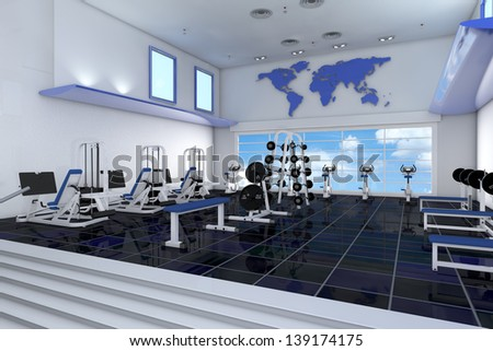 Modern empty fitness center in a health club - stock photo