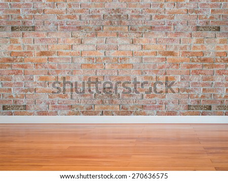 Modern empty  interior brick wall with wooden floor/ copy space background and texture - stock photo