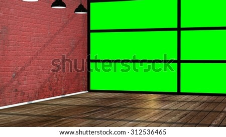 Modern empty interior in the loft style with big green screen window  - stock photo