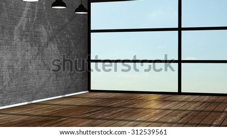 Modern empty interior in the loft style with big window - 3D