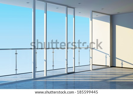 Modern Empty Interior with Large Windows and Terrace - stock photo