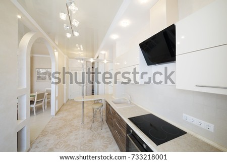 Modern Empty Kitchen With Stylish Simple Furniture Integrated Oven Picture