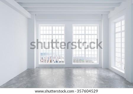 Modern empty light loft room with concrete floor, big windows and city view 3D Render - stock photo