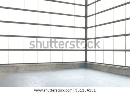 Modern empty loft style room with windows in floor and concrete floor 3D Render