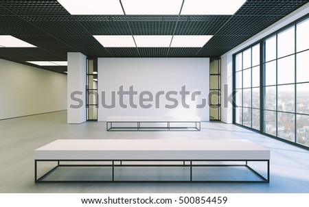 Modern empty minimalistic interior of exhibition with clean walls. Loft design, Art gallery or museum. 3d rendering