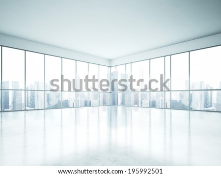 Modern empty open space interior - stock photo